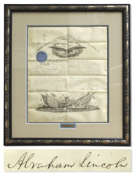 Abraham Lincoln Document Signed President Abraham Lincoln Near Mint Condition Military Document Signed From 1863 -- Appointing a Soldier KIA at Gettysburg