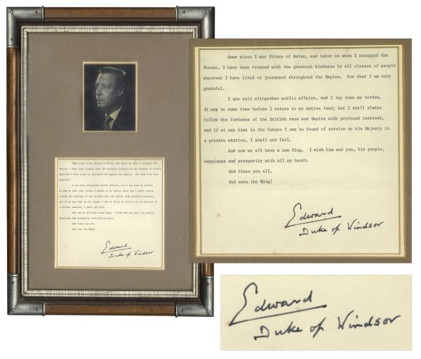 King Edward VIII Signed Copy of His Abdication Speech