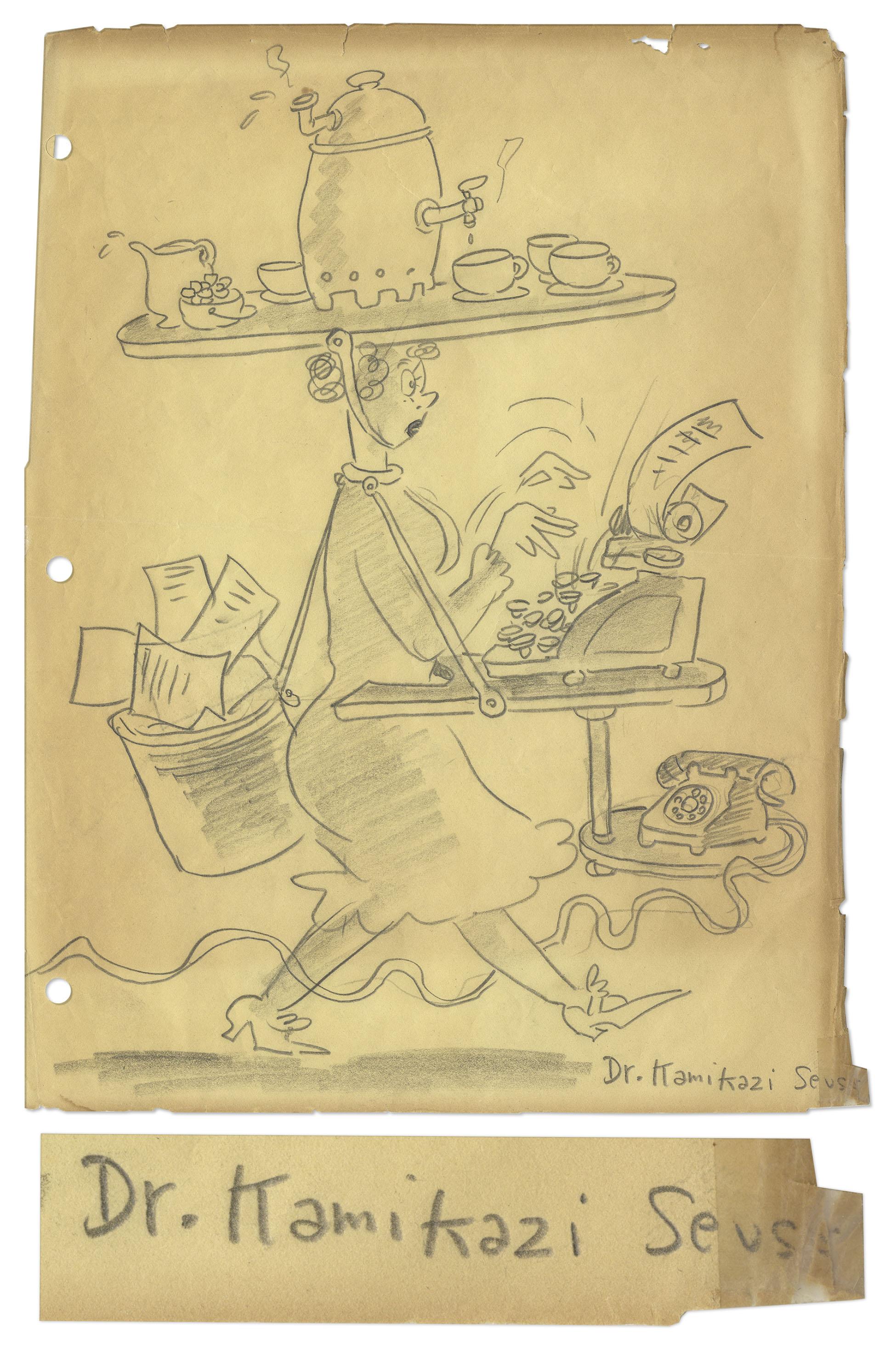 Dr. Seuss Autograph Dr. Seuss Pencil Drawing -- Signed ''Dr. Kamikazi Seuss''