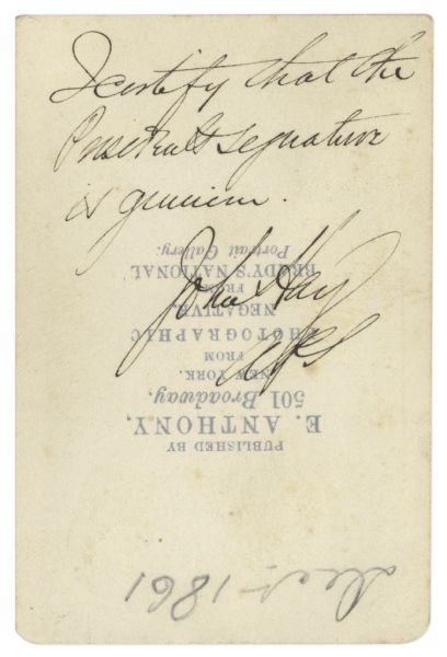 Abraham Lincoln Signed CDV as President -- John Hay Certifies Signature as Authentic on Verso