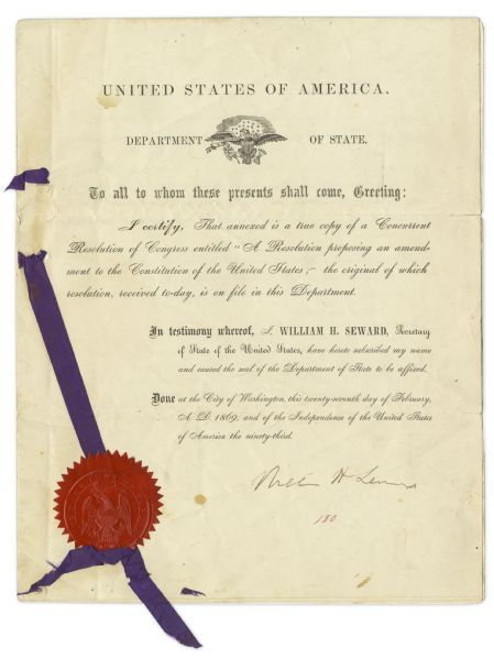 William H. Seward Signed Resolution Bringing the 15th Amendment to Congress -- ''...The right of citizens of the United States to vote shall not be denied...on account of race, color...''