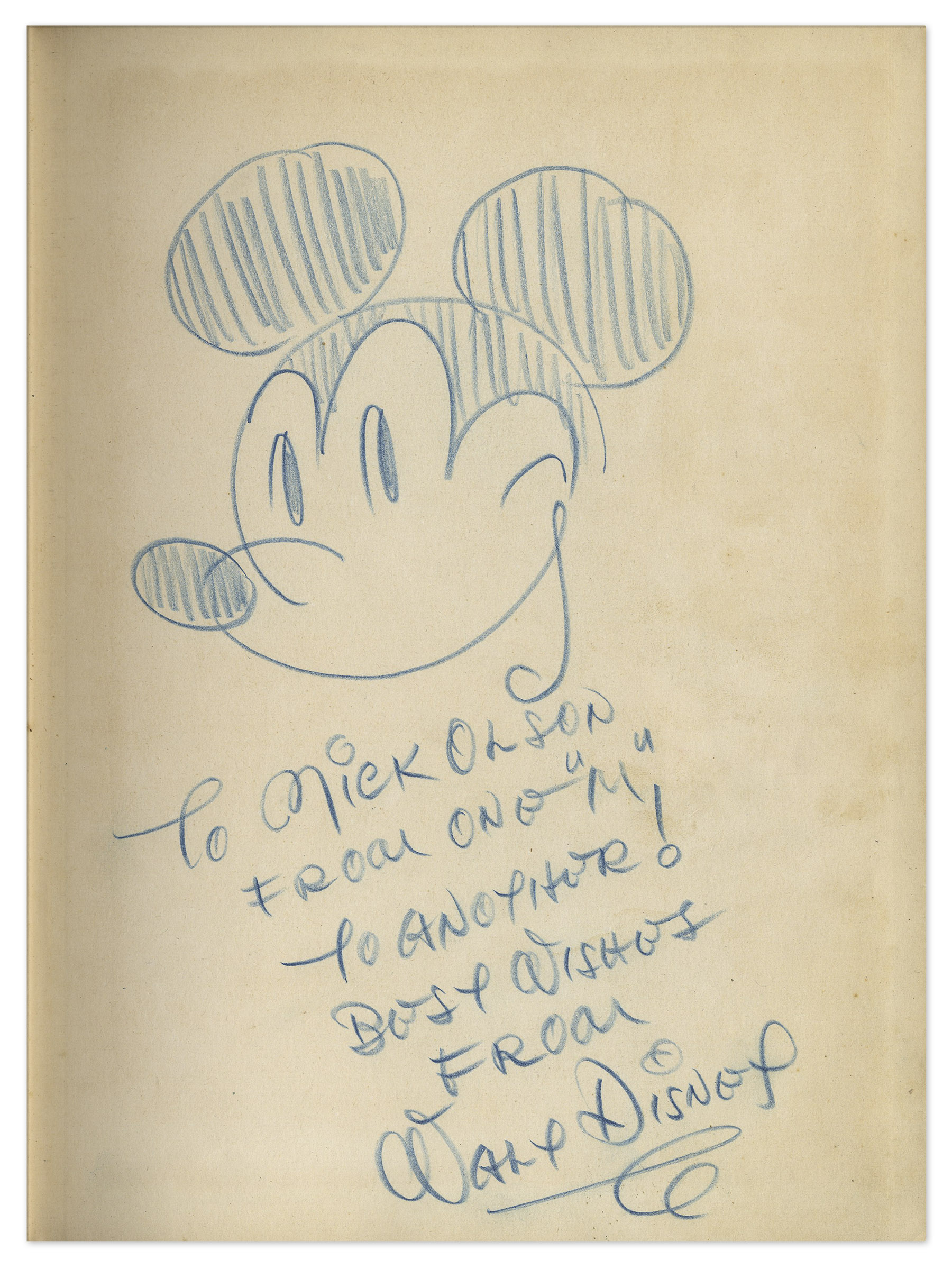 Lot Detail Walt Disney Signed Drawing Of Mickey Mouse Sketched
