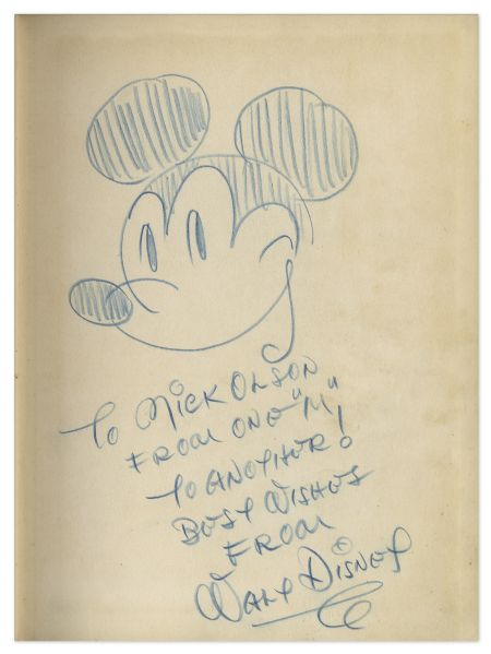 Walt Disney Signed Drawing of Mickey Mouse -- Sketched Within a First Edition Copy of The Art of Walt Disney -- An Exceptionally Rare Disney Piece