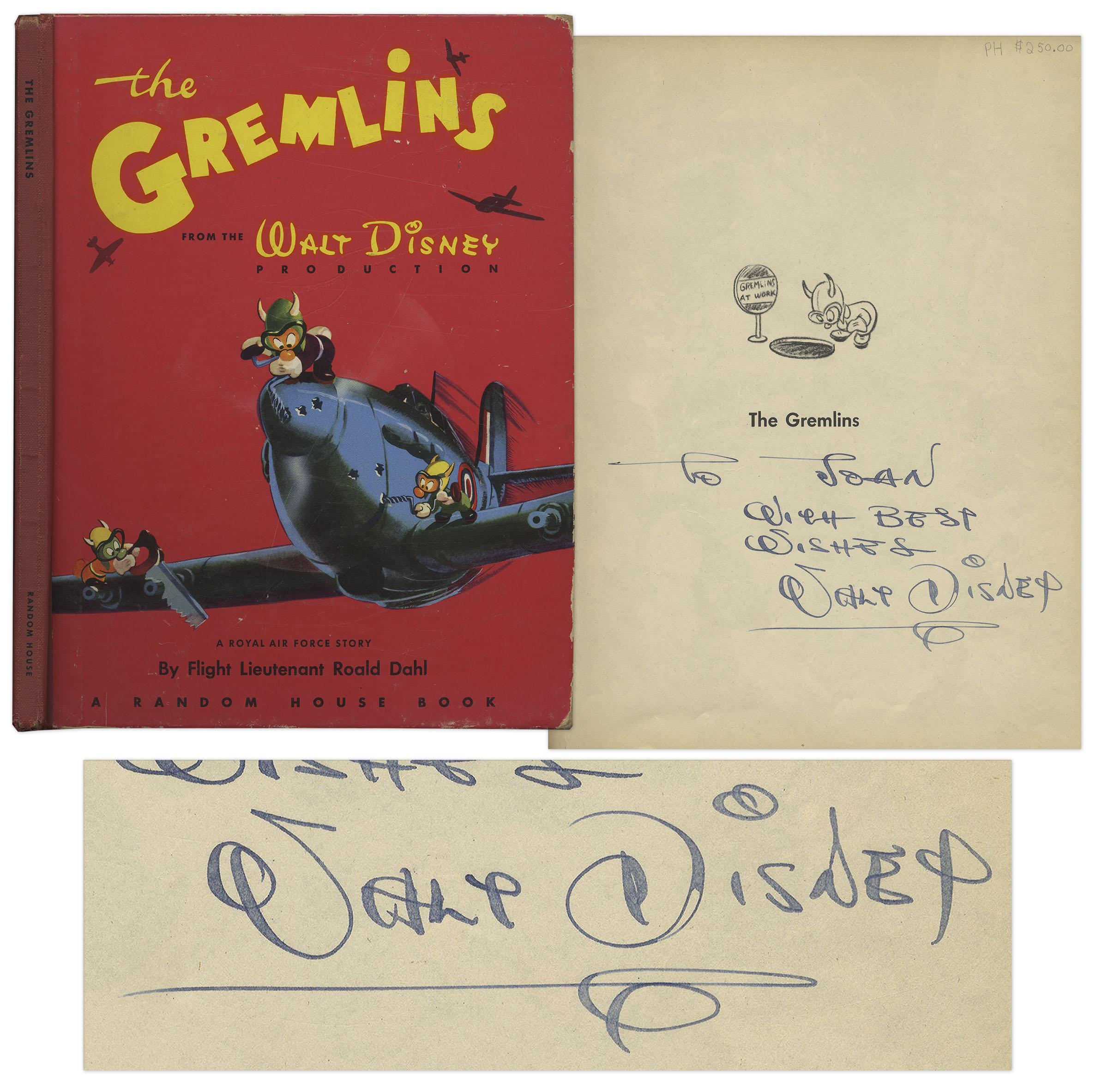 Walt Disney Autograph Walt Disney Signed Copy of ''The Gremlins''