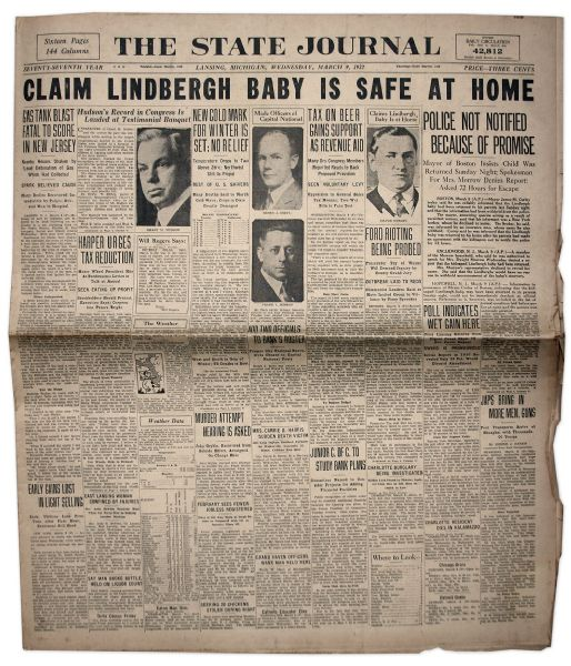 Charles Lindbergh Baby Kidnapping Newspapers -- Four Newspapers in Total