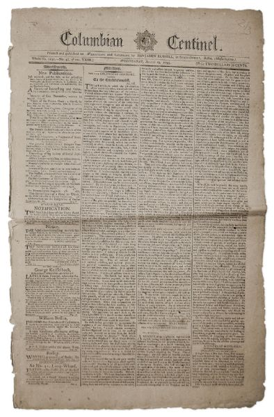 1795 Newspaper With Content by George Washington on the Jay Treaty