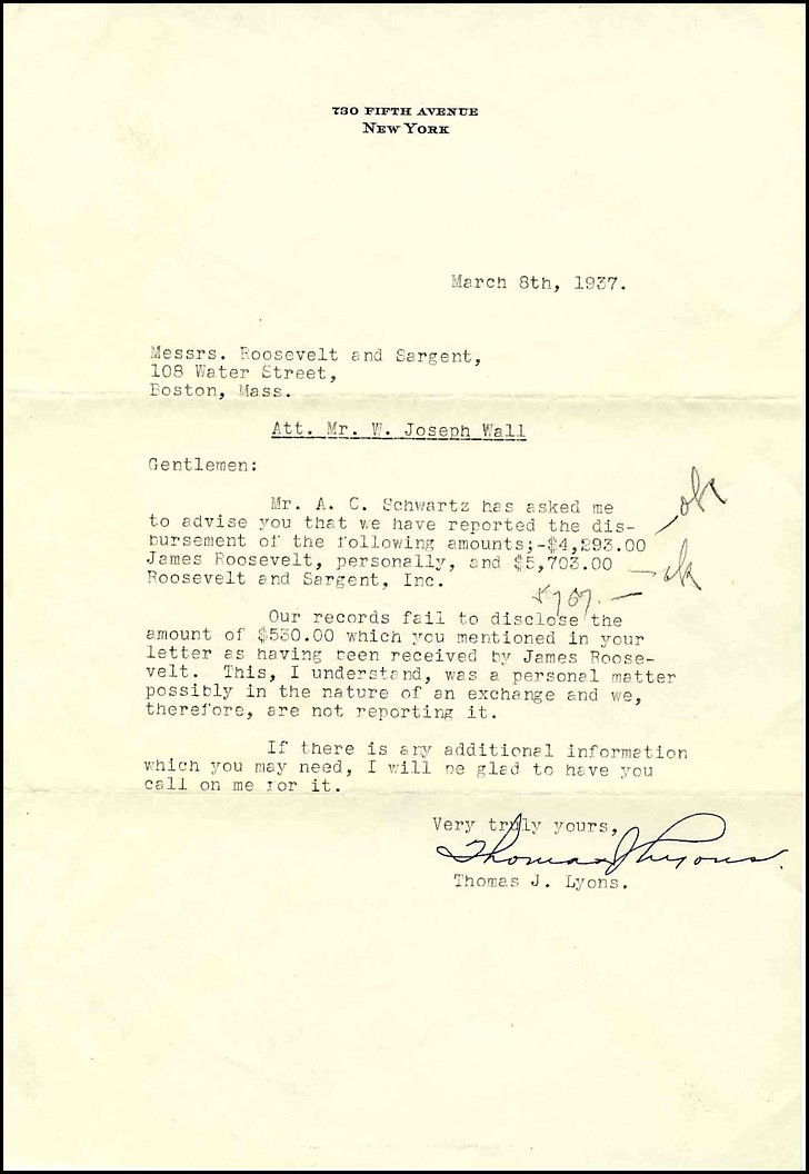 Lot Detail Lot Of Business Letters Related To James Roosevelt Son