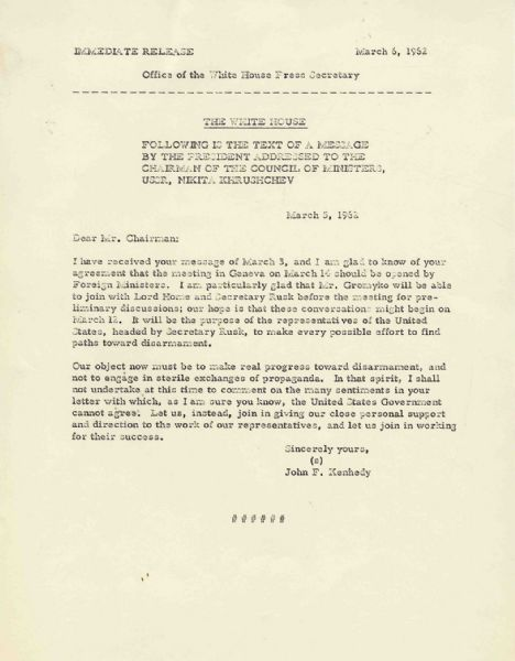 JFK Press Release -- Message to Khrushchev Regarding Nuclear Disarmament Shortly Before Cuban Missile Crisis