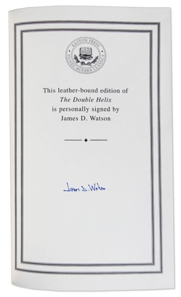 James D. Watson ''The Double Helix'' Signed -- 22K Gold Detailing