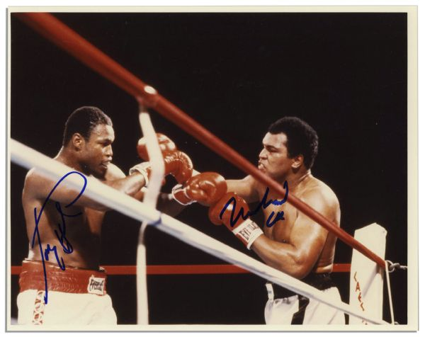 Fantastic Muhammad Ali Signed 10'' x 8'' Photo -- Also Signed by Larry Holmes From Ali's Penultimate Fight -- Obtained in Person by Michael Wehrmann
