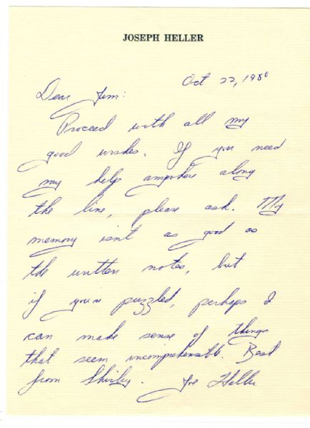 'Catch-22'' Author Joseph Heller Autograph Letter Signed -- ''...My memory isn't as good as the written notes, but if you're puzzled, perhaps I can make sense of things...''