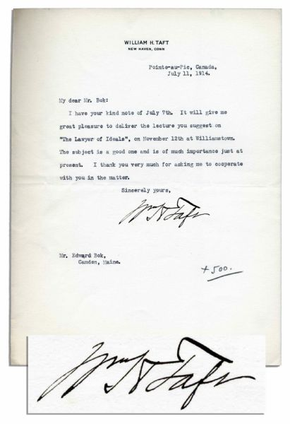 William Taft Typed Letter Signed as Yale Law Professor -- Agrees to Deliver a Lecture on ''The Lawyer of Ideals'' -- Excellent Signature