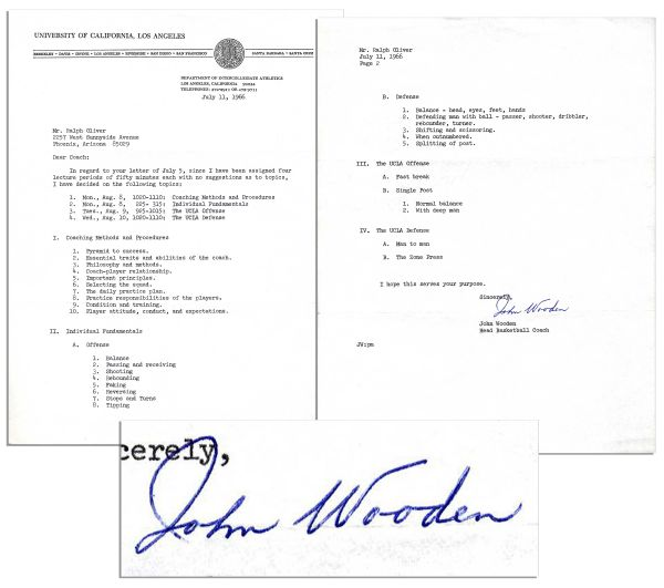 John Wooden Typed Letter Signed -- Legendary UCLA Basketball Coach Agrees to Speak on Coaching Topics