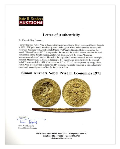 Nobel Prize Awarded to Economist Simon Kuznets in 1971 -- Inventor of the Kuznets Curve -- One of the Most Influential Economists of All Time