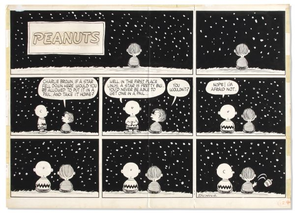 Charles Schulz Hand-Drawn ''Peanuts'' Sunday Strip Featuring Charlie Brown & Linus -- 1958