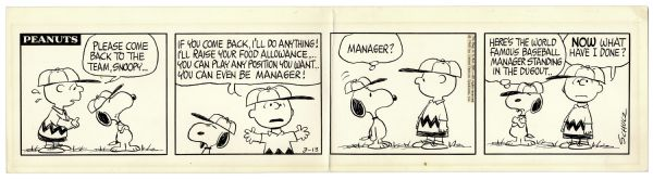 Charles Schulz Hand-Drawn ''Peanuts'' Strip Featuring Baseball Content With Charlie Brown & Snoopy -- Charlie Brown Makes Snoopy Manager of the Baseball Team -- 1968