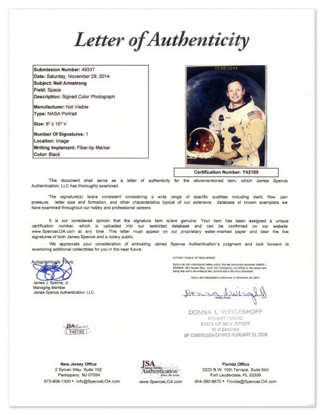 Neil Armstrong Signed 8 x 10 Photo, Uninscribed -- With a COA From JSA