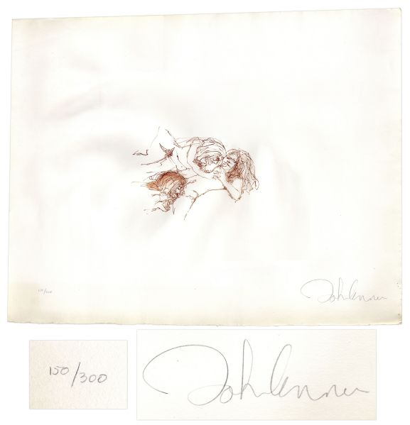 John Lennon Bag One Lithographs John Lennon Signed ''Bag One'' Print -- Number 150 Out of 300 -- With COA From Roger Epperson