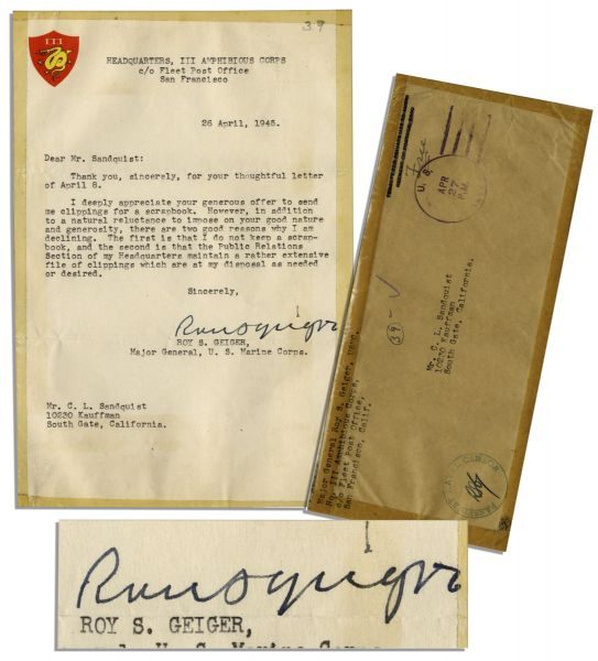 General Roy Geiger April 1945 Typed Letter Signed -- Declines Clippings Concerning Iwo Jima