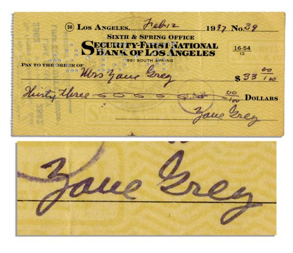 Zane Grey 1937 Holograph Check Signed -- Prolific Author of Popular Western Novels
