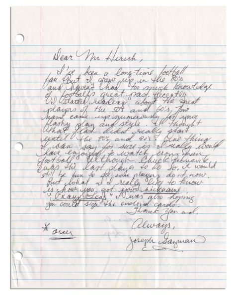 Running Back Elroy ''Crazylegs'' Hirsch Autograph Letter Signed -- Describing How He Got His Nickname: ''...it looks like I 'wobble'...Legs''