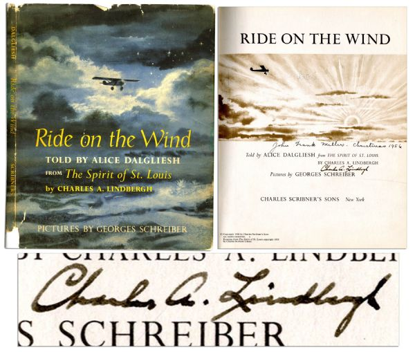 Charles Lindbergh Signed Children's Book About His Transatlantic Flight, ''Ride on the Wind''