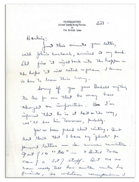 Eisenhower WWII Autograph Letter Signed to Mamie -- ''...Your mention of women flying over here is news to me. I don't know who they are!...''