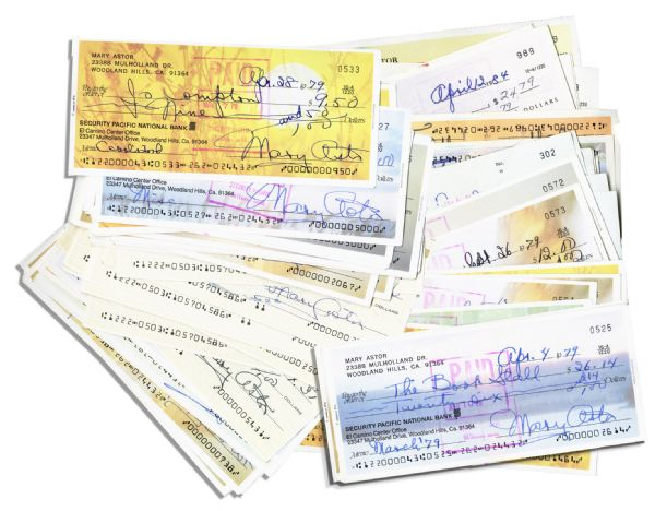 Lot of 100 Checks Signed by Classic Hollywood Film Star Mary Astor