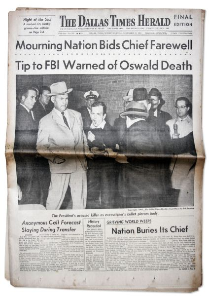 JFK Assassination Newspaper -- 25 November 1963 Edition of ''The Dallas Times-Herald'' Covering The Shooting of Lee Harvey Oswald