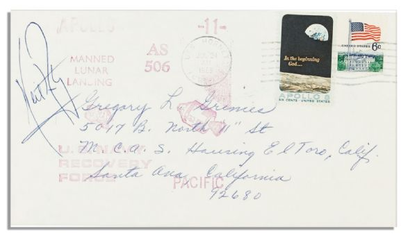 Neil Armstrong Signed Cover Paying Tribute to the Splashdown Recovery -- Cancelled Onboard the U.S.S. Hornet