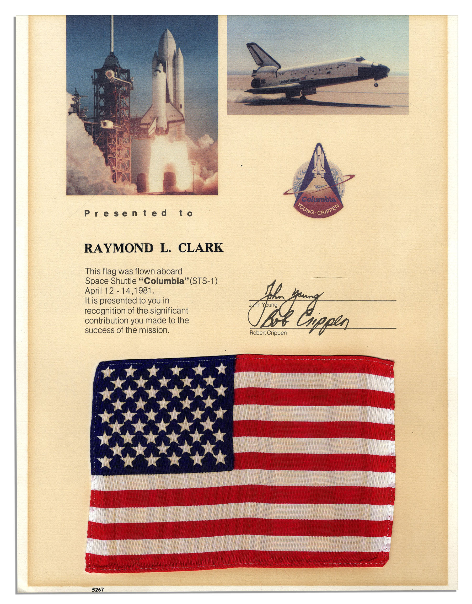 Lot Detail - American Flag Flown in Space Aboard Columbia ...