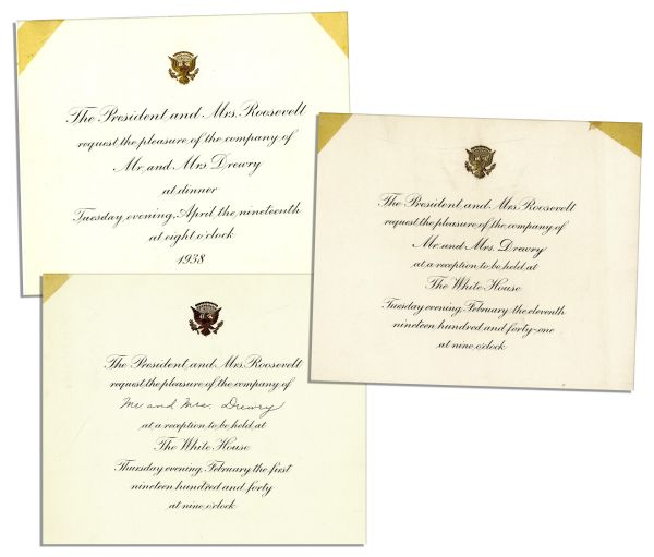 Trio of Invitations to the Franklin D. Roosevelt White House -- From 1938, 1940 and 1941