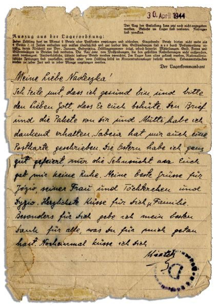1944 Autograph Letter Signed From Sachsenhausen Concentration Camp Prisoner -- ''...I ask the dear God to protect you...''