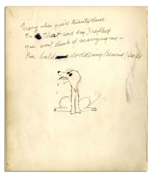 Artist Walt Kuhn Signed Drawing With Personal Inscription -- ''...Never trust a man who paints pictures...'' -- Includes Screenwriter Ben Hecht Signed Drawing on Verso