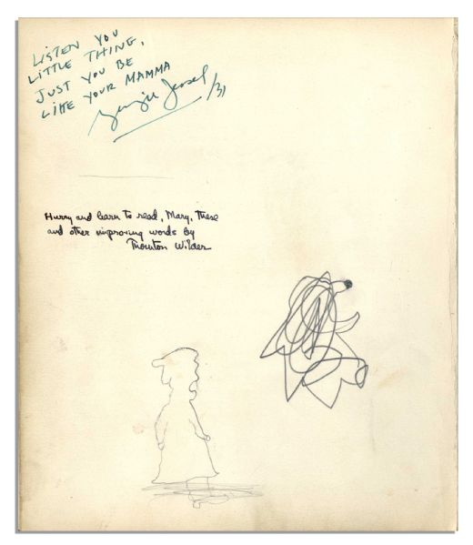 Thornton Wilder & George Jessel Signed Inscriptions to the Daughter of Helen Hayes -- ''Listen you little thing, Just you be like your Mamma...''