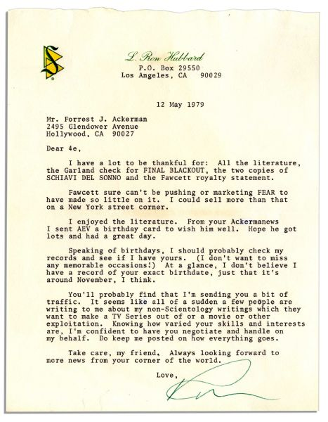 L. Ron Hubbard Signed Letter -- ''...I could sell more than that on a New York street corner...people are writing to me about my non-Scientology writings...''