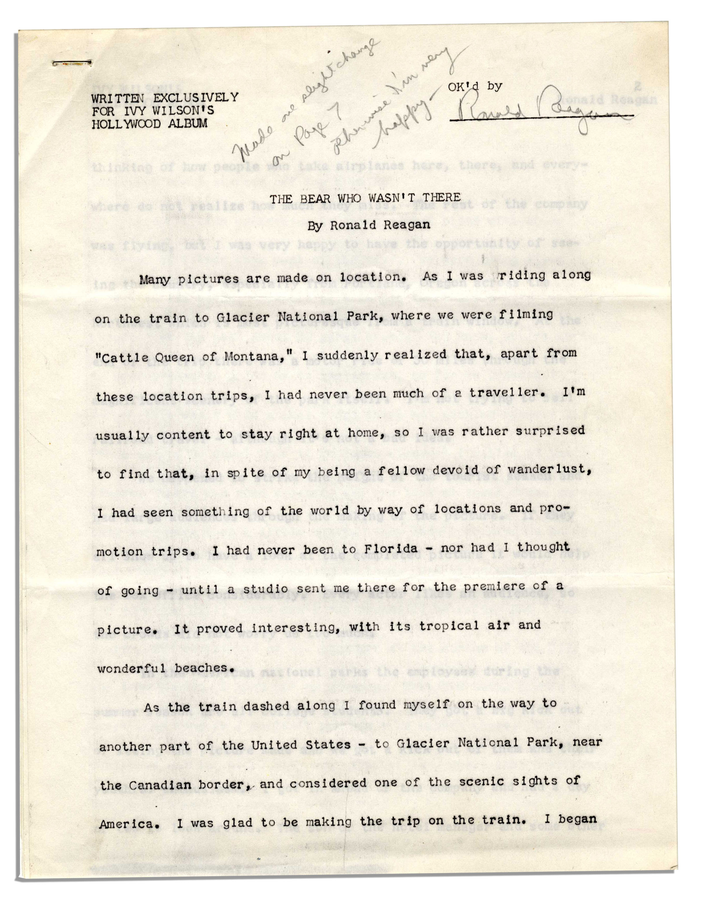 Lot Detail - Ronald Reagan Signed Short Story About Filming ''The ...