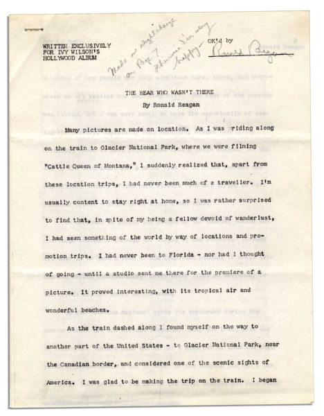 Ronald Reagan Signed Short Story About Filming ''The Cattle Queen of Montana'' -- Also With Reagan's Hand-Notations: ''Made one slight change on Page 7 otherwise I'm very happy''