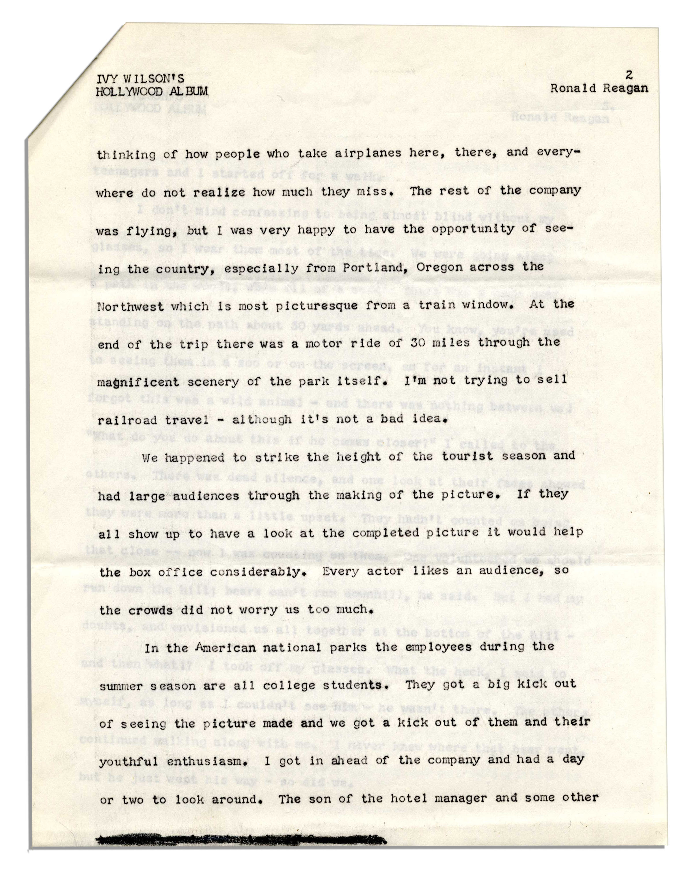 Lot Detail - Ronald Reagan Signed Short Story About Filming ''The