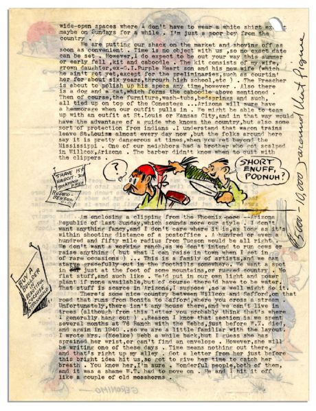 Dick Calkins Letter Signed Featuring Five Color Drawings -- ''...Don't let this Buck Rogers business fool you. About all I get is a lot of publicity, while the syndicate gets the gravy...''