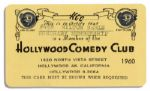 Milton Berles Membership Card to the Hollywood Comedy Club for 1960