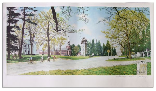 Norman Rockwell Signed Lithograph of His ''Springtime on Stockbridge''
