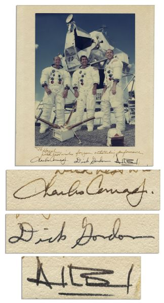 Apollo 12 Crew-Signed 10'' x 11.5'' Photo Display