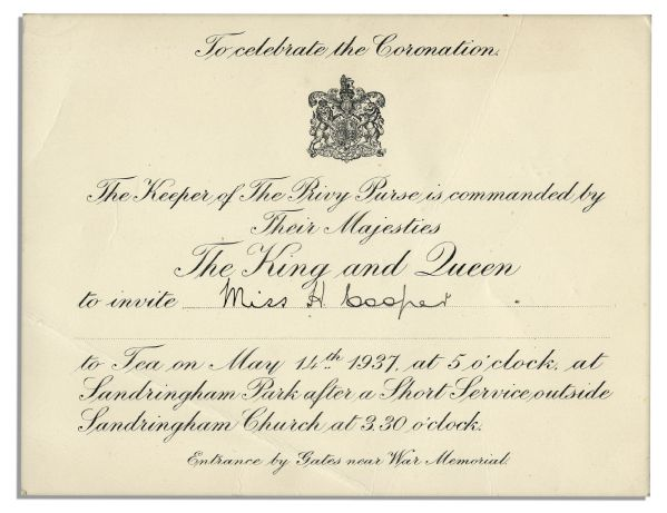 King George VI & Queen Elizabeth Invitation ''To Celebrate The Coronation'' at Sandringham Park Two Days After They Ascended the Throne