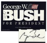George W. Bush Signed 19 x 12.5 Presidential Campaign Poster