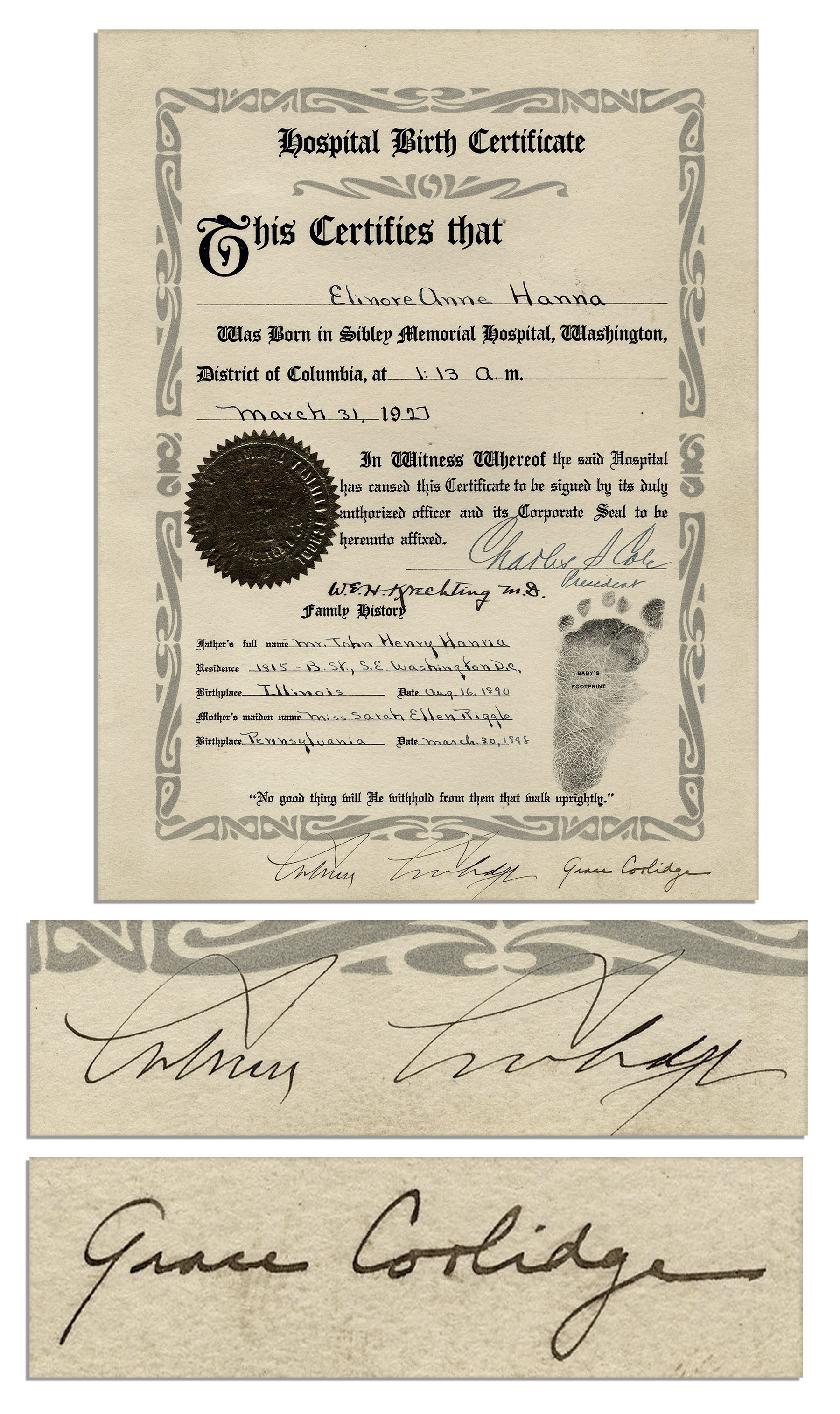 Lot detail president calvin coolidge signed 1927 birth president calvin coolidge signed 1927 birth certificate also signed by first lady grace coolidge xflitez Choice Image