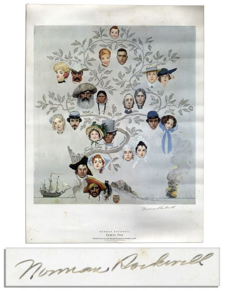Norman Rockwell Signed Print of His Famous ''Saturday Evening Post'' Cover From 1959 Titled, ''Family Tree''
