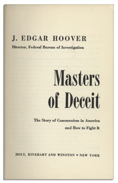 J. Edgar Hoover ''Masters of Deceit'' Signed