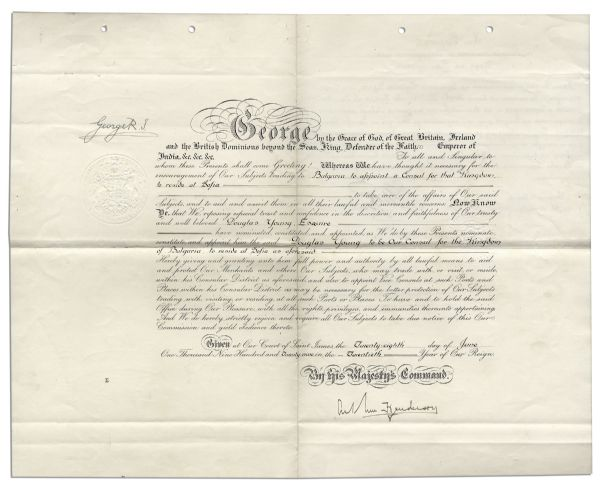 King George V 1929 Document Signed -- Large Document Measures 21'' x 16.5''
