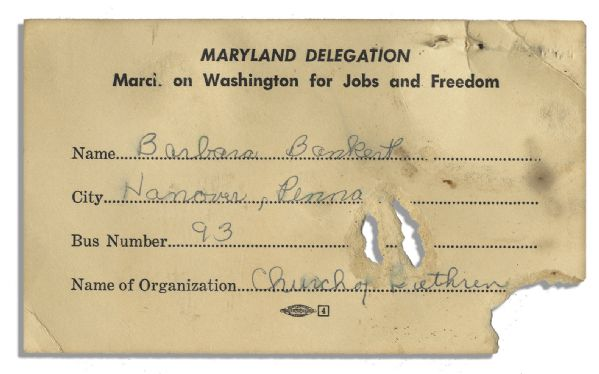 Rare Pass From the ''March on Washington'' -- Where Martin Luther King Delivered His Great ''I Have A Dream'' Speech